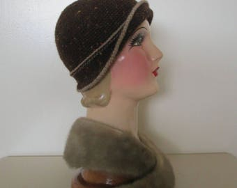 Hand Crochet Cloche Hat Downton Abbey Ready to ship Bonnet Cloche Pure Wool Vintage 1920s Style