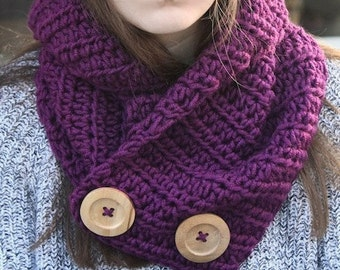 Crochet Pattern - Crochet Scarf Pattern - Crochet Cowl Pattern - Crochet Patterns for Women - Button Cowl - Includes 3 Sizes - PDF 394