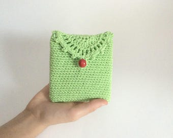Hot green crochet pouch, handmade crocheted small container, hot green crochet feminine pads holder, small crocheted case, READY TO SHIP