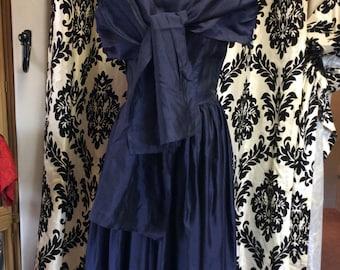 Blue Rayon Blend Dress and Shawl