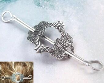 Silver Celtic Hair Slide, Celtic Hair Clip, Celtic hair pin, silver hair slide, wreath, oxidized silver, barrette, hair pin