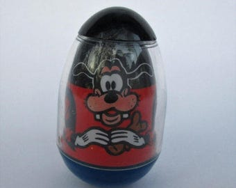 Spring SALE 20% Off Vintage Goofy Weeble, Walt Disney Productions 1970s Rare Vintage Toy