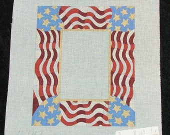 Hand Painted Needlepoint Canvas 4 x 6 PATRIOTIC PHOTO FRAME Elizabeth Turner! Stars and Stripes, 4th July Celebration, Red, White, Blue 18Ct