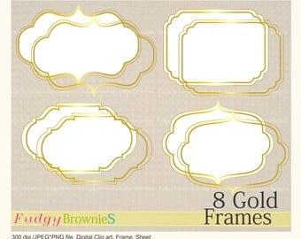 ON SALE gold digital frame clip art,Gold Foil Label ,gold Tags Clip Art , digital scrapbooking frames gold A-05 ,  Instant download