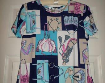 Vintage 90s Top Tunic Blouse Handbags Purses Chic Mod Graphic Blue M 8-10