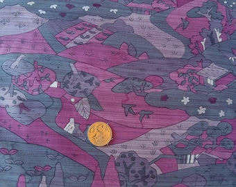 Vintage Japanese silk kimono fabric 92 cm x 36 cm scenery grey and pink