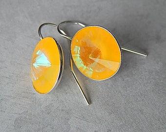 Sterling Silver Summer Earrings, Yellow Swarovski Crystal Earrings, Handmade Jewelry, Wedding Earrings, Birthstone Jewelry