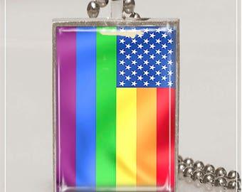 Gay Pride Necklace Gay Pride Flag Necklace Pride Flag Pendant Rainbow Flag Necklace N148