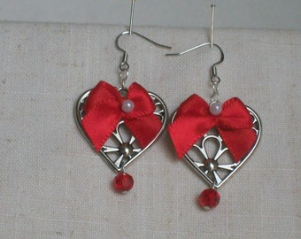Hearts and Bows Earrings,  Happy Valentine's Day, For Her, Funny Valentine, RED, Bows and Pearls, Fun Jewelry, Party, Love Gift, Red Beads,