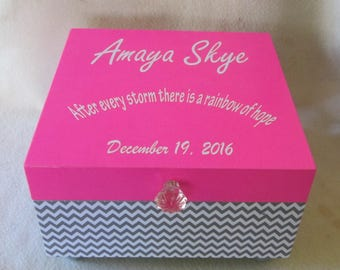 Large Memory Box - Keepsake Box -  Gray Chevron- Pink -  Personalized - Gift