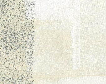 """Nani Iro Wild Flower in """"Canvas"""" white, pewter, cotton double gauze fabric, by the yard"""
