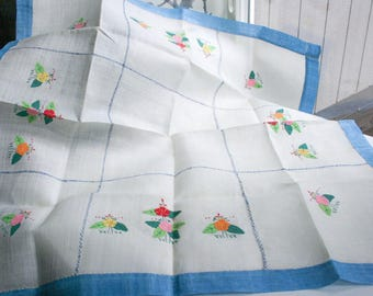 Vintage Tablecloth, Hand Applique Florets, Hand Stiched Edging, White Linen Type Material, Very Firm/Stiff To Touch, Satin Sheen