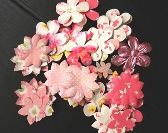 Paper flower embellishment / flower confetti / embossed flowers / punch out flower