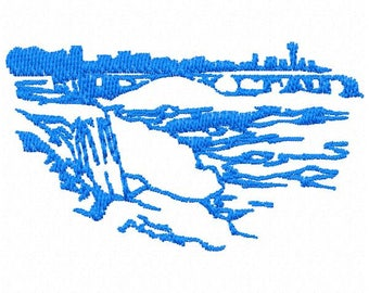 Niagara Falls Embroidery Design - Instant Download