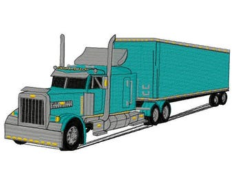 Big Rig Truck Machine Embroidery Design - Instant Download