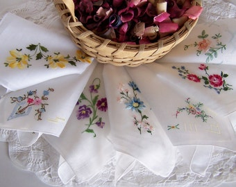 Bridesmaids' Gifts Wedding Handkerchiefs, Happy Tears Hankies Set of Seven, Floral Embroidery on White, Bridal Party Gift