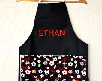 Boys apron personalized in soccer print includes name!