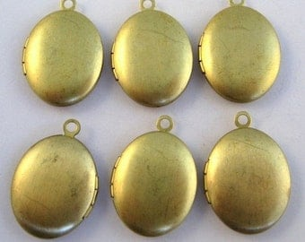 6 pcs Plain Oval Brass Lockets Medium 24mm x 17mm