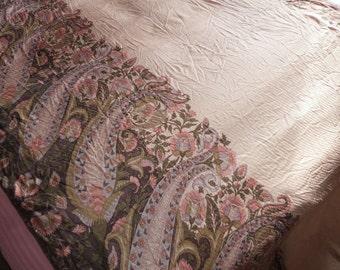 Vintage silk sari saree Indian floral fabric wrap w flowers LONG silk Indian dress craft w floral paisley design vintage silk fabric supply