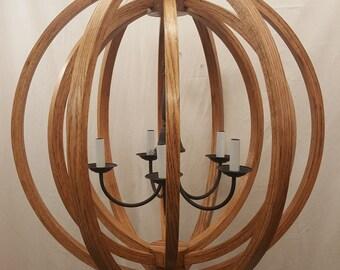 """30"""" Chestnut Oak  Wood Orb Double Chandelier Sphere Wood Chandelier Rustic Farmhouse"""