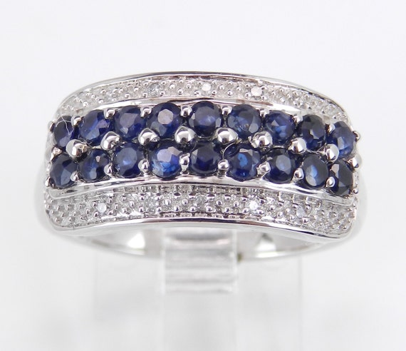 Diamond and Sapphire Wedding Ring Anniversary Band White Gold Size 7 Blue Gem