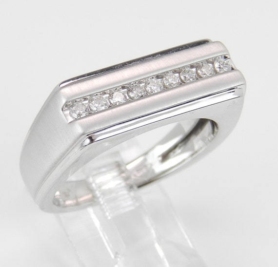 Mens White Gold Diamond Wedding Band Anniversary Ring Size 10.25