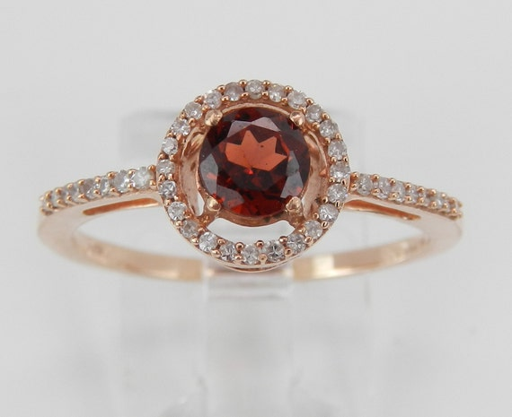 Garnet and Diamond Halo Engagement Ring Promise Ring Rose Gold Size 8 January Birthstone