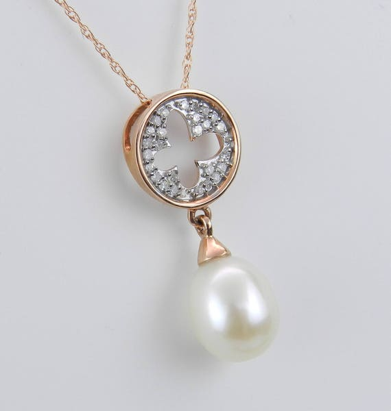 """14K Rose Gold Diamond and Pearl Cluster Pendant Wedding Necklace with 18"""" Chain"""