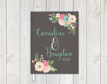 Vintage Floral Wedding Guest Book in Pink, Aqua, Gray - Personalized Traditional Guestbook, Journal, Album (7015)