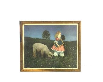 Vintage Nursery Print, Mary Had a Little Lamb