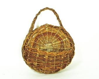 Hanging Wicker Basket, Wall Pocket Basket, Rustic Handmade Basket