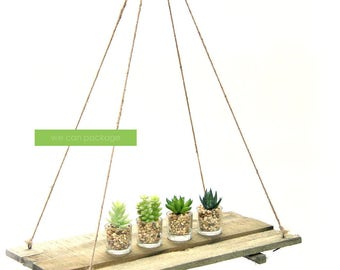 Small Wood Table Chandelier - Hanging Wood Shelf - Wedding & Event Party Decorations