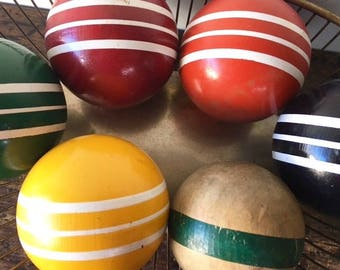Vintage Lot of 6 Croquet Balls, 5 Striped and 1 Wooden
