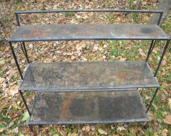 Very Cool Vintage Heavy Duty Metal INDUSTRIAL MESH 3 Tier Plant STAND Pick  Up Only