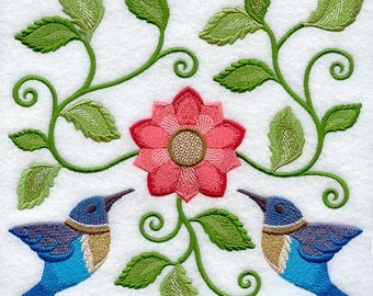Jacobean Hummingbird Square Embroidered on Kona Cotton Quilt Block // Plain Weave Cotton Dish Towel // Also Available on Other Items