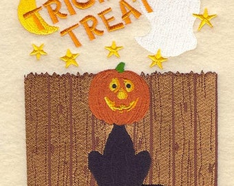 Pumpkin-Headed Cat Embroidered on Kona Cotton Quilt Block // Plain Weave Cotton Dish Towel // Also Available on Other Items