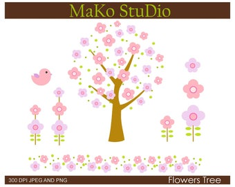 Flowers Tree clipart,/ SummerTrees clip art, Personal or Commercial Use