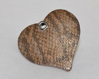 Leather Heart Shape Pendant, Snakeskin Print Leather Heart, Metallic Genuine Leather