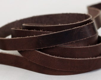 20 mm Genuine Leather Strap, Crazy Horse Cow Leather, Rustic  Brown  Flat cord