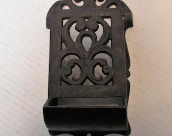 Cast Iron Matchbox Holder Wall Mount / Vintage Cast Iron Match Holder