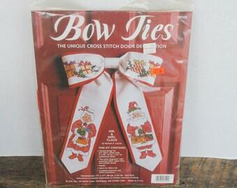 Bow Ties Cross Stitch Door Decoration Kit Mr. & Mrs. Claus JCA Inc