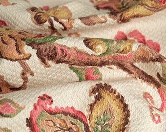 Vintage French Floral Fabric with Large Scale Floral Motifs