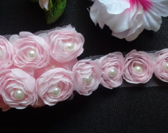 1 1/8 inch wide Chiffon Rose Pearl Trim pink color select 0.5 yard or 1 yard