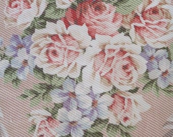 Gorgeous Vintage Barkcloth Fabric Pink Cabbage Roses Valance 168 x 20 8 Full Bouquets for Pillows