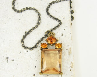 Blush Pink Necklace, Pink and Amber Rhinestone Pendant on Antique Brass Chain Oxidized Romantic Jewelry |NC2-12