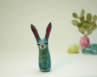 Teal Watercolor Rabbit