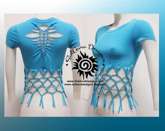 FABULOUS FRILLS 1 - Juniors / Womens Cut, Weaved and Tied Turquoise Top - Yoga Wear, Festival Wear, Club Wear, Beach Wear
