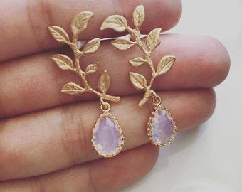 Leaf Earrings, Bridal Earrings, Gold Blush Pink Opal, Wedding Jewelry, Bride, Dangling Earrings, Bridesmaids Earrings Set, Gift, Birthstone