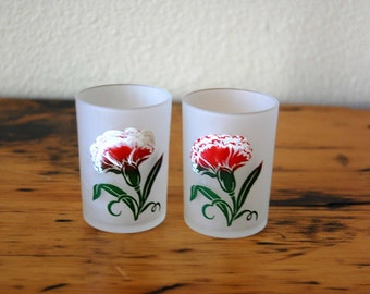 Vintage Floral Frosted Juice Glasses Vintage Frosted Floral Votive Candle Holder Shabby Floral Juice Glasses from The Eclectic Interior