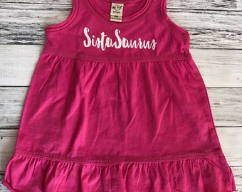SALE 6m SistaSaurus Dress- | Dinosaur | Girl Clothes | Infant Clothes | Baby| Dinos